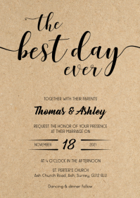 The best day Rustic kraft wedding invitation A6 template