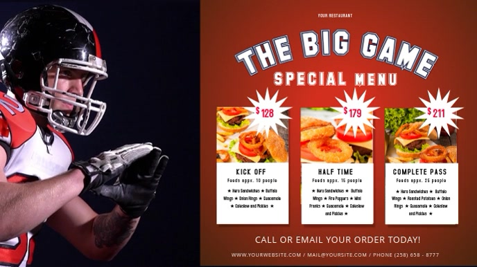 The Big Game Restaurant Deal Digital Display Video 数字显示屏 (16:9) template