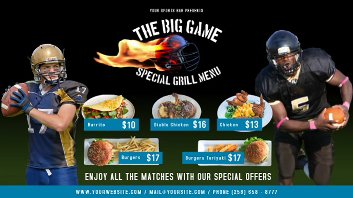 The Big Game Restaurant Menu Digital Display Video