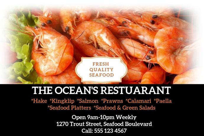 The Oceans Restuarant Poster template
