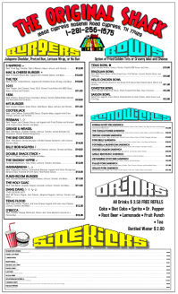 The Original Shack Burger Menu