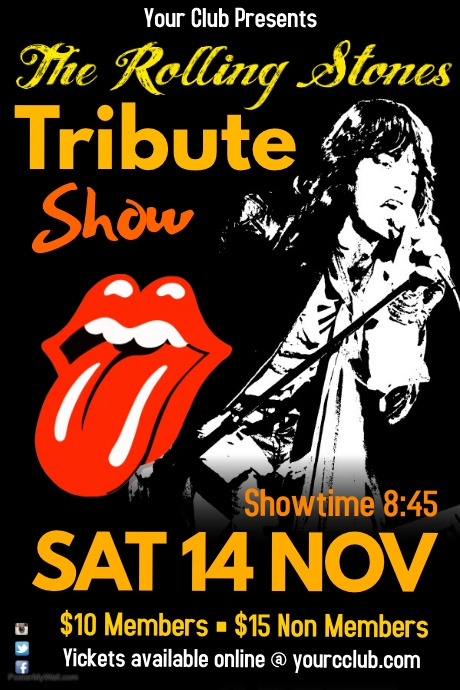 the rolling stones tribute show template postermywall. Black Bedroom Furniture Sets. Home Design Ideas