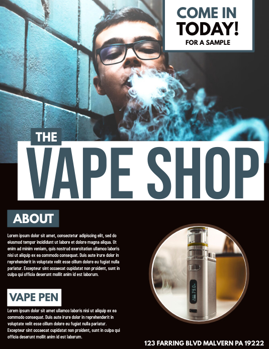 THE VAPE SHOP Template | PosterMyWall