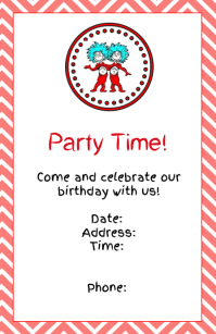 Thing 1 and Thing 2 Invitation Half Page Wide template