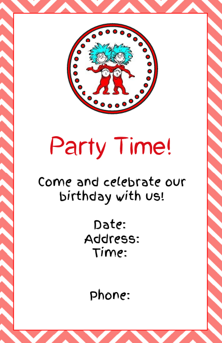Thing 1 And 2 Invitation