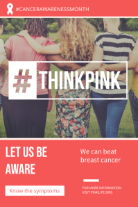 Think Pink Breast Cancer Campaign Poster Template โปสเตอร์