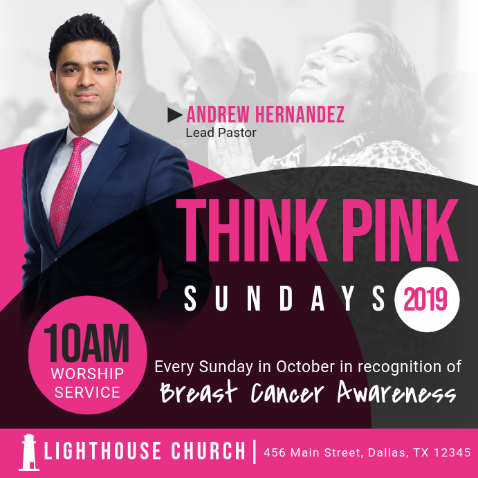 Think Pink Sunday 2019 Instagram-opslag template