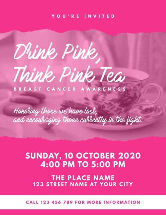 Think Pink Tea Event Flyer