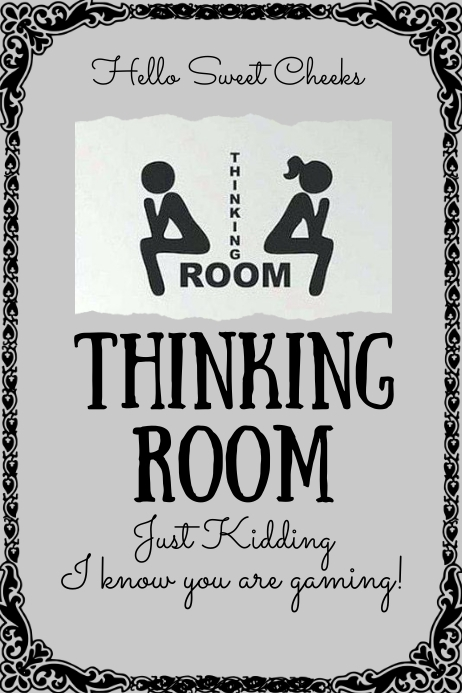 Room Design Layout Templates: Thinking Room Bathroom Sign Template