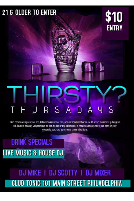 Thirsty Thursday Poster template