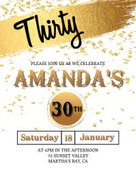 Thirtieth Birthday invitation Template