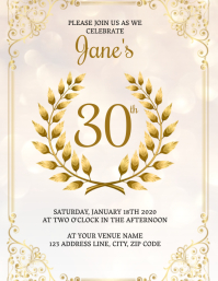 Thirtieth Birthday Invitation Template