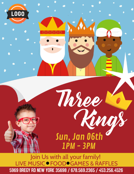 Three Kings Celebration Flyer (Letter pang-US) template