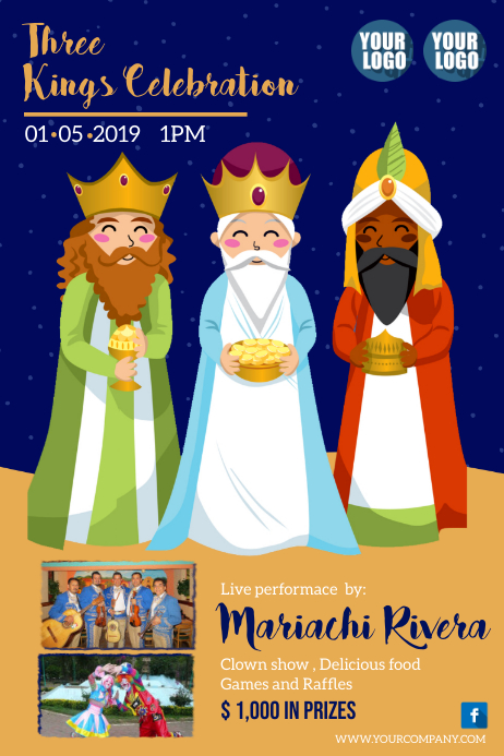 Three Kings Celebration / Epiphany Poster template