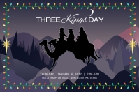 Three Kings Day Invitation Póster template