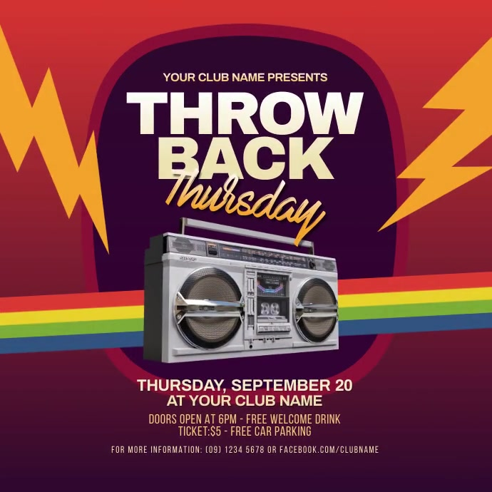 Throwback Thursday Party Instagram Video Post Instagram-bericht template