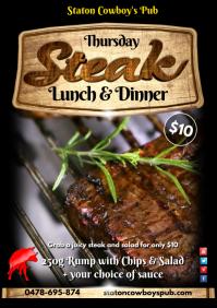 Thursday Lunch&Dinner; Steak Poster