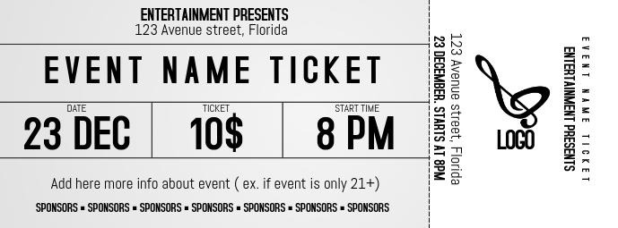 Ticket shape artistic Event Concert facebook Cover Template