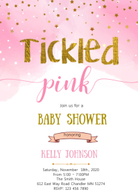 Tickle pink baby shower invitation