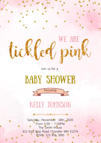 Tickle pink confetti invitation