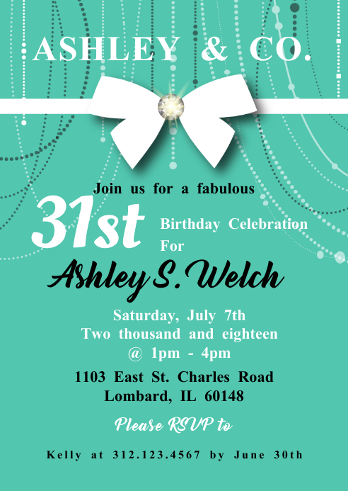 Tiffany Co Inspired Birthday Invite Template Postermywall