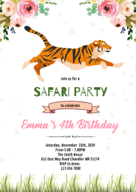 Tiger birthday party invitation A6 template
