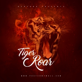 Tiger Roar Mixtape CD Cover Art Template