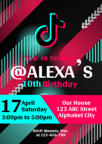 Tik Tok Birthday Invitation A4 template