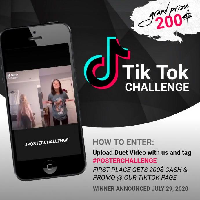 Tik tok challenge design template instagram Persegi (1:1)