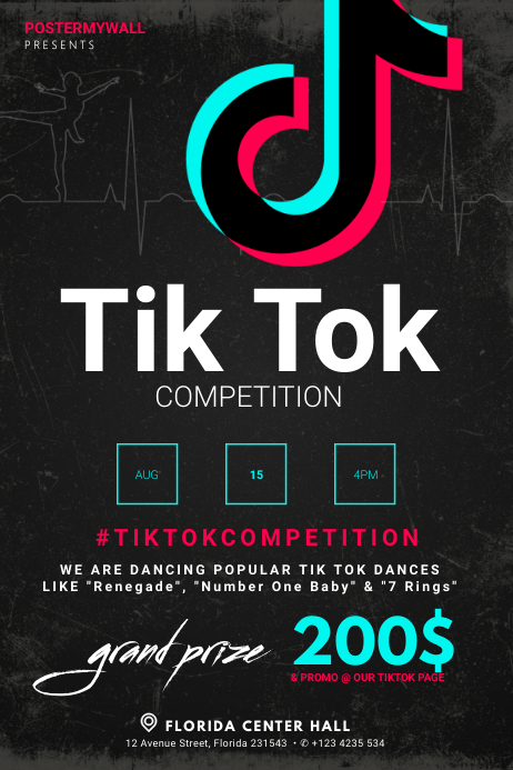 Tik tok dance competition flyer template