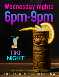 Tiki Bar Drinks Special Flyer