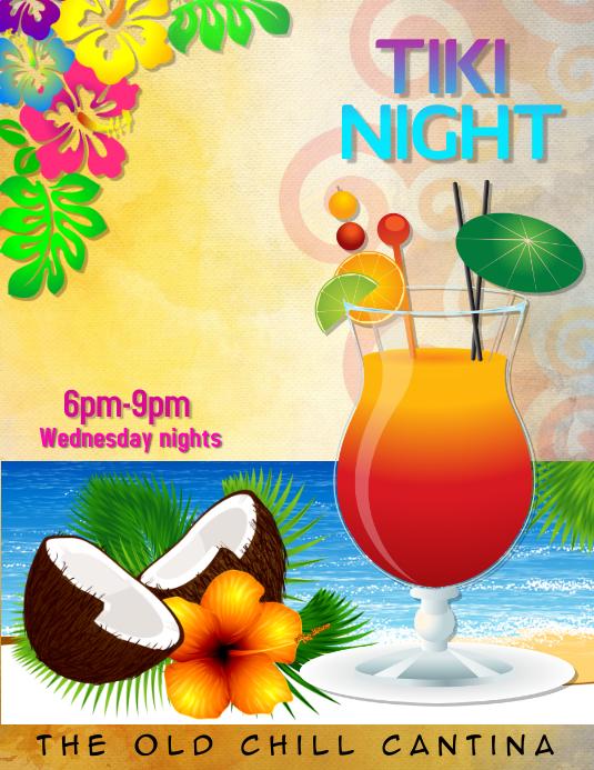 Tiki Bar Summer Luau Drinks Special Flyer