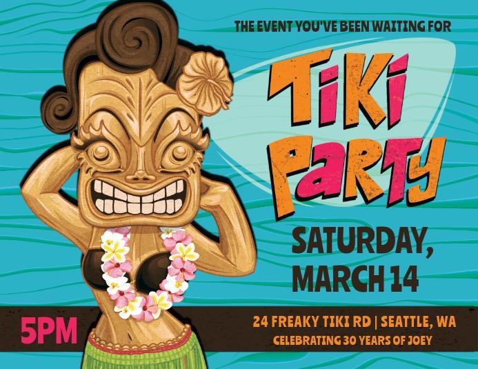 Tiki Party Event Flyer Folheto (US Letter) template