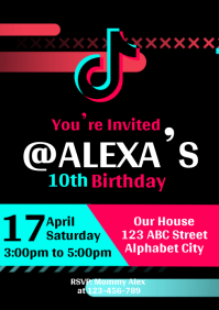 TikTok Birthday Invitation A4 template
