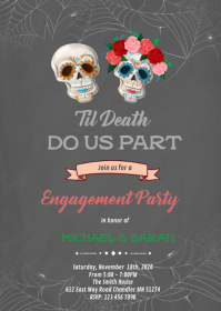 Til Death Do Us Part Halloween Engagement A6 template