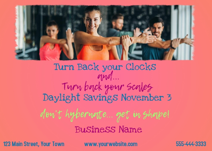 Time Change - Fitness Postcard Briefkaart template