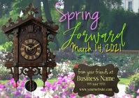 Time Change Spring Forward Postcard Size template