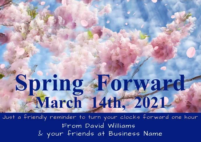 Time Change Spring Forward Reminder Video Kartu Pos template