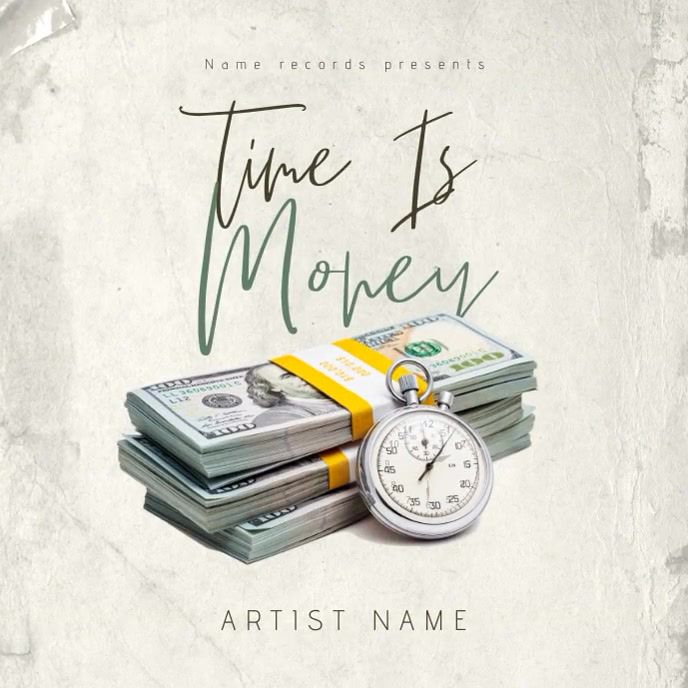 Time Is Money Album CD Mixtape Cover Template Albumhoes
