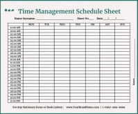 Time Management Schedule Template Middelgrote rechthoek