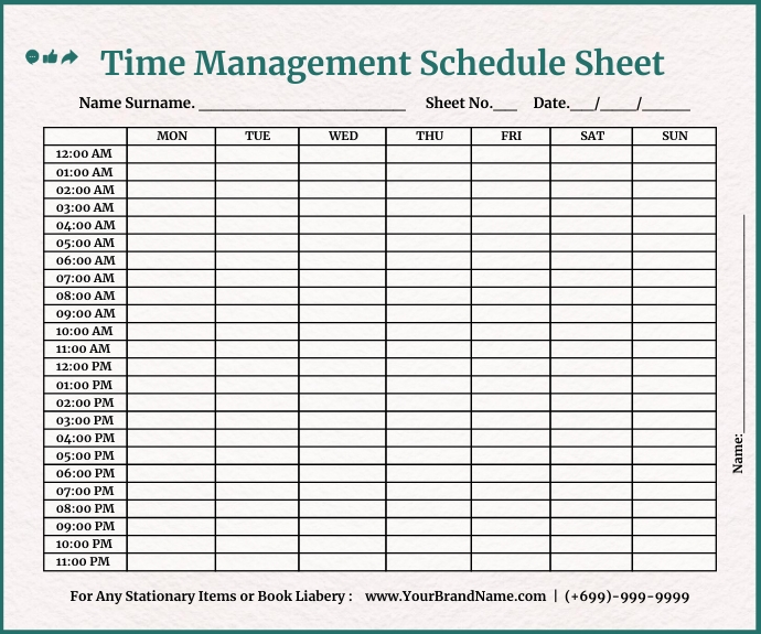 Time Management Schedule Template Medium Rectangle