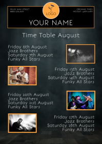 Time Table Event Calendar Club bar Template F A4