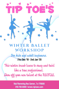 Tip Toes Ballet Class Winter Workshop Poster