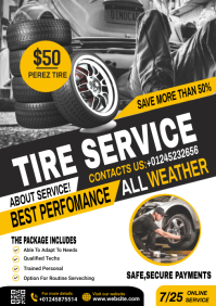 tire service flyer template A4