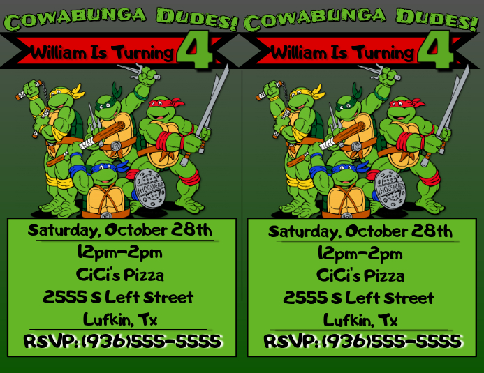 Tmnt Birthday Invite Template Postermywall