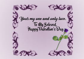 To My Love Valentine's Post card