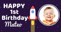 To the Moon Space Birthday Announcement Immagine condivisa di Facebook template