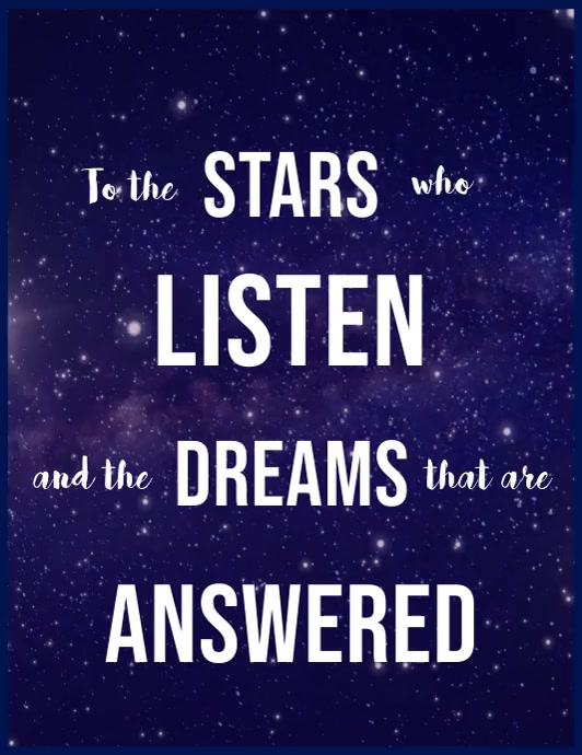 To the stars who listen and the dreams 1 Folder (US Letter) template