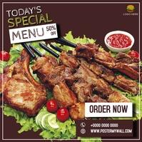 Today's special Shashlik Kebab Barbecue menu Instagram-bericht template