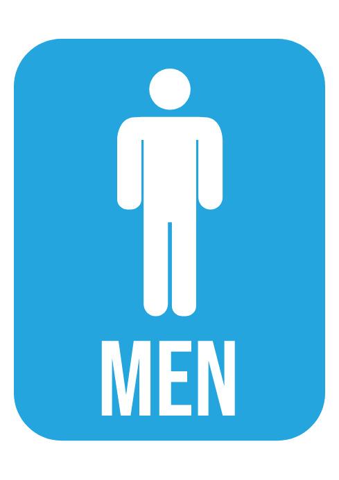 Men Toilet Sign - Restroom Sign A4 template